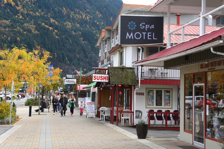 The main tourist drag in the resort town of Harrison Hot Springs, British Columbia, Canada.