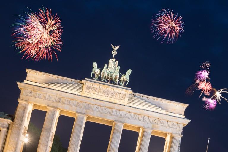 Firework over Brandenburg Gate in Berlin.  New years Eve in Germany