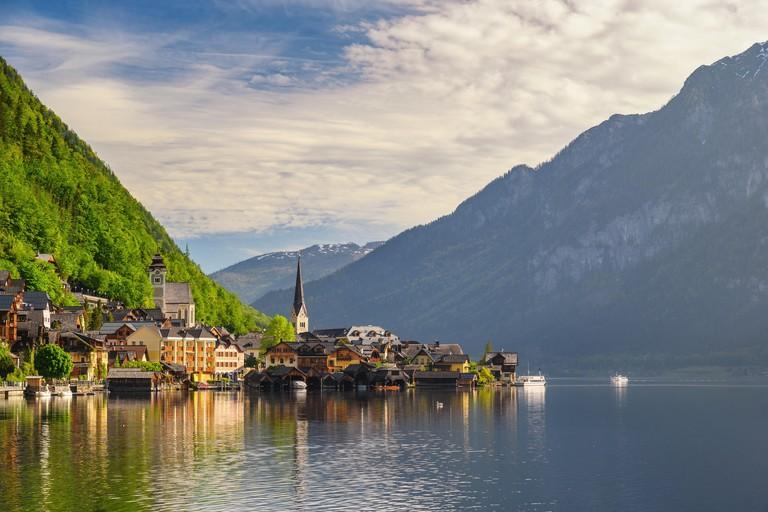Hallstatt Austria, Nature landscape of Hallstatt village with lake and mountain WBAGAA