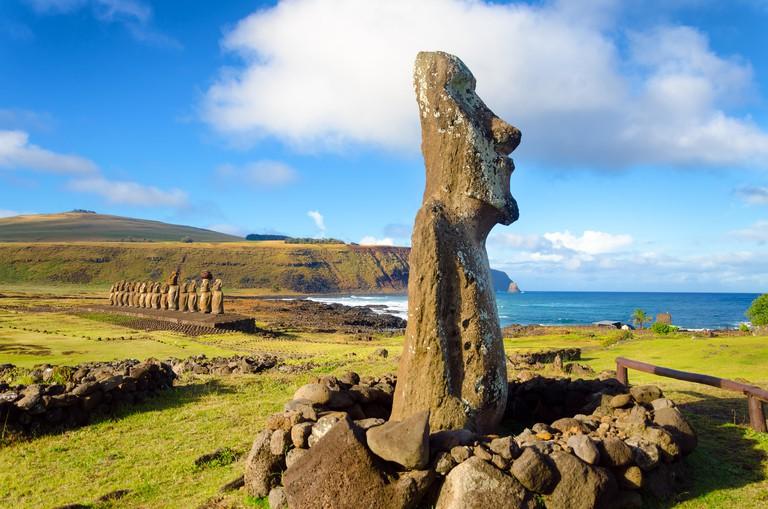 Moai statues on Easter Island at Ahu Tongariki in Chile