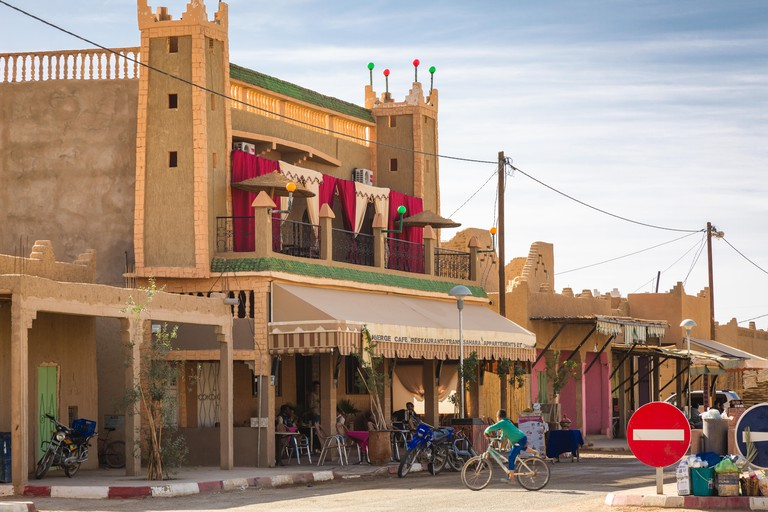 Typical Berber architectural elements in Merzouga, Morocco