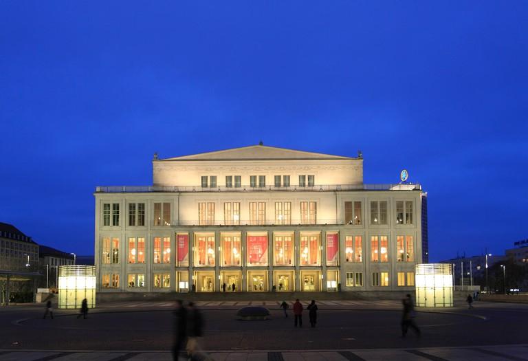 HJBP70 Opera house at Augustusplatz square, Leipzig, Saxony, Germany, Europe