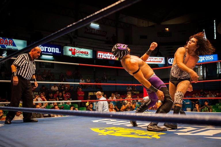Wrestlers perform in a Lucha Libre event in Guadalajara Arena Coliseo,Guadalajara, Jalisco, Mexico