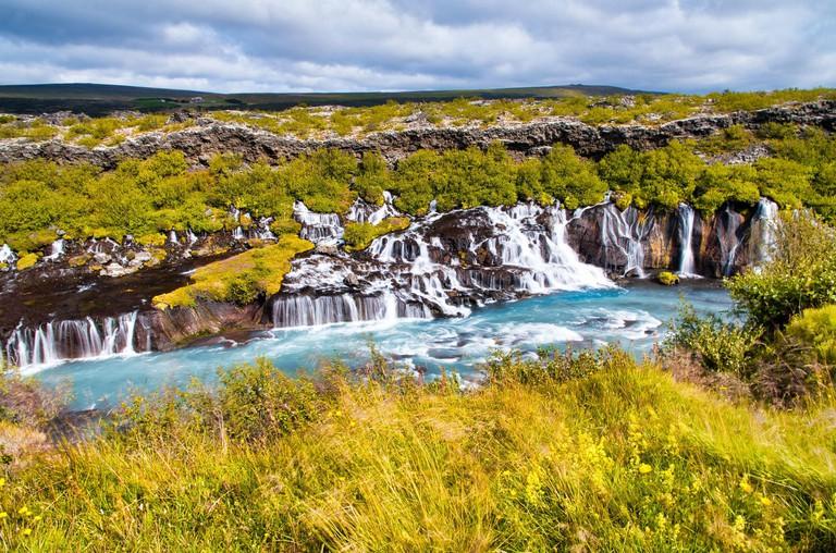 Hraunfossar series of waterfalls in Iceland_2CF21CH