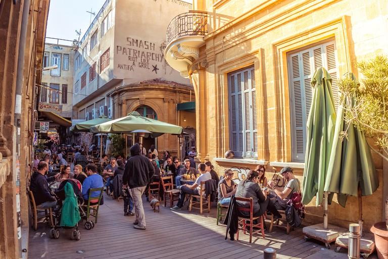 NICOSIA - APRIL 13, 2015: Street cafe in Phaneromeni Square, old quarter of Nicosia