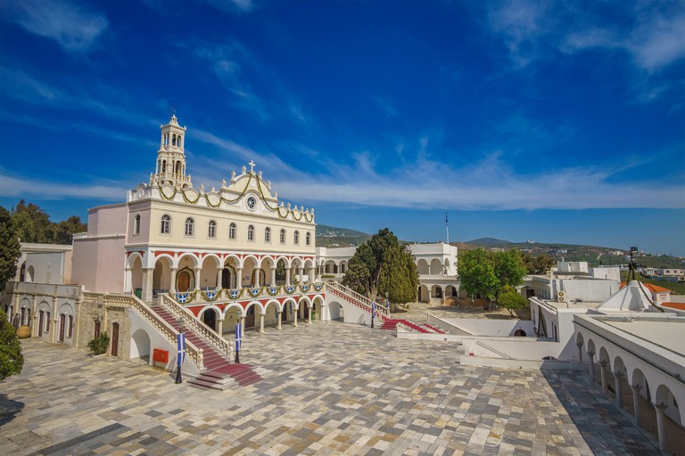 The entrance of Panagia Megalochari church (Virgin Mary) in Tinos, It is the patron saint of Tinos island and considered as the saint protector of Gre