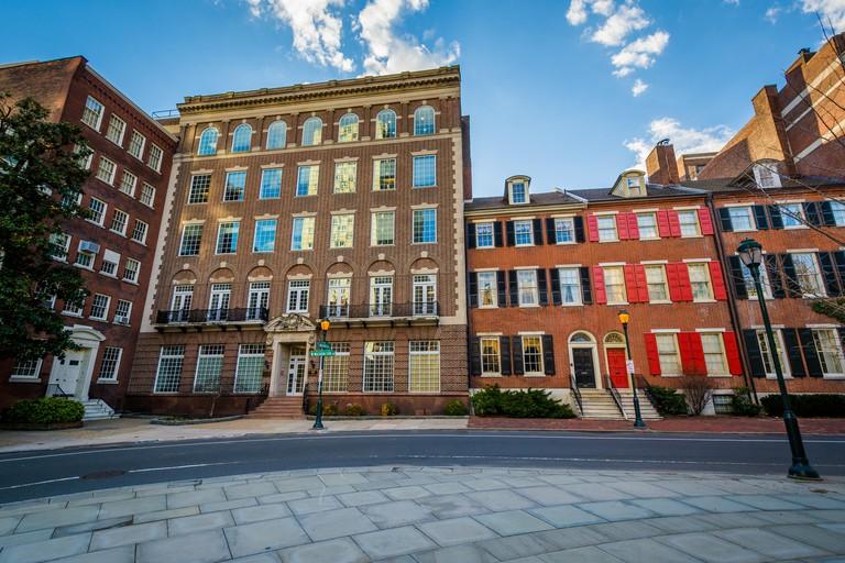Historic buildings at Washington Square, in Philadelphia, Pennsylvania.