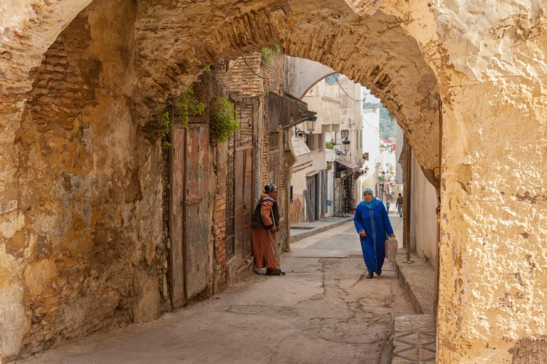 MEKNES, MOROCCO - FEBRUARY 18, 2017: Unidentified people walking in the street of Meknes, Morocco. Meknes is one of the four Imperial cities of Morocco