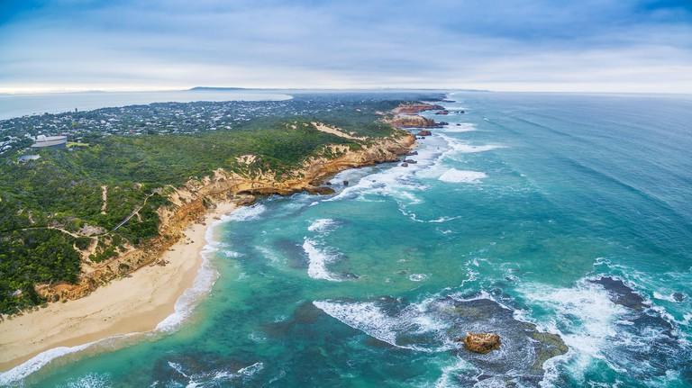 Aerial panorama of Sorrento Back Beach and coastline. Mornington Peninsula, Melbourne, Australia