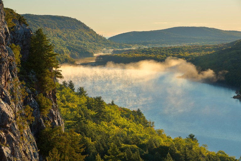 Porcupine Mountains Wilderness Lake of the Clouds view of the wilderness in fall near sunrise. Michigan. USA