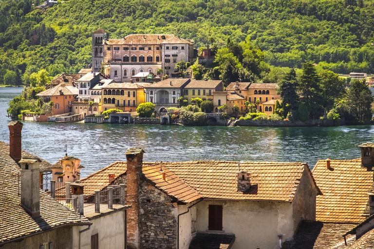 Italy lake painting like, San Giulio island on Orta lake Novara province Piedmont region