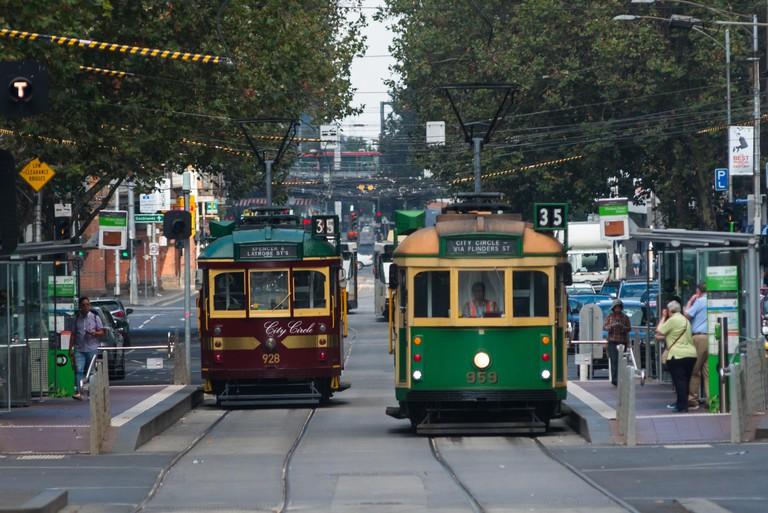 Traditional Trams in Melbourne city centre, Victoria, Australia.