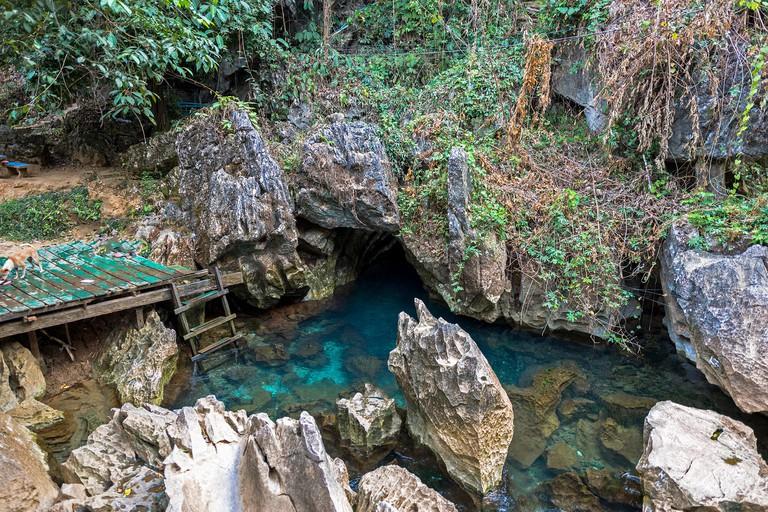 VANG VIENG, LAOS - MARCH 14, 2017: Horizontal picture of Blue Lagoon at Tham Chang Cave, close to the city of Vang Vieng, Laos.
