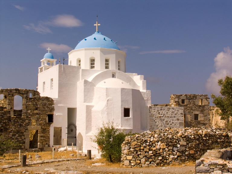 europe, greece, dodecanese, astypalea island, chora, castle and our lady of the castle church