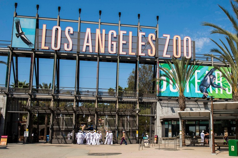 Entrance to the Los Angeles Zoo and Botanical Gardens September 1, 2017 in Los Angeles, California.
