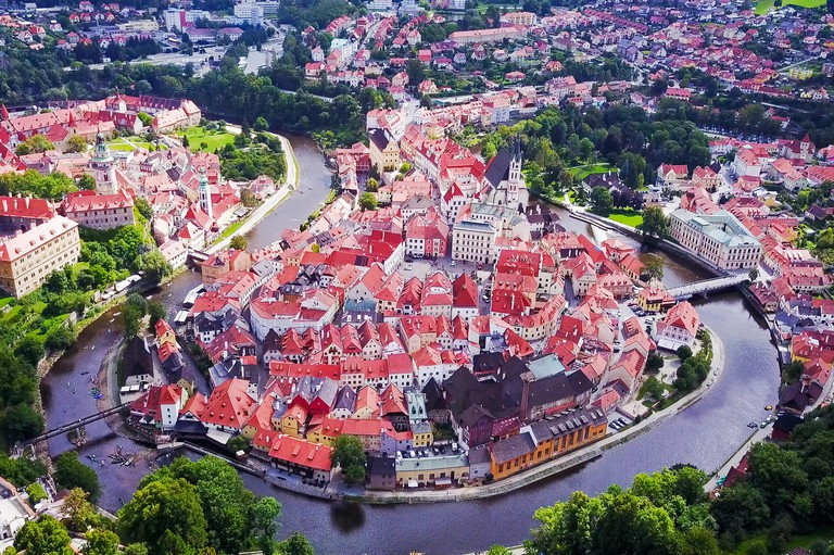Cesky Krumlov - Aerial view of the small city in the South Bohemian Region of the Czech Republic. Old Cesky Krumlov is a UNESCO World Heritage Site.
