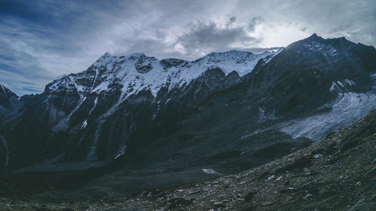A panoramic shot of Mt. Trishul as seen from Junnar gali near Roopkund lake.