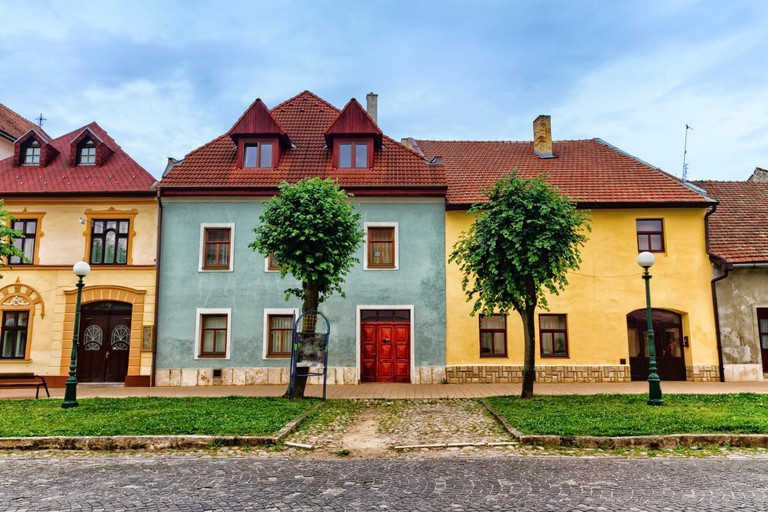 Colorful old houses in Kezmarok by day, Slovakia