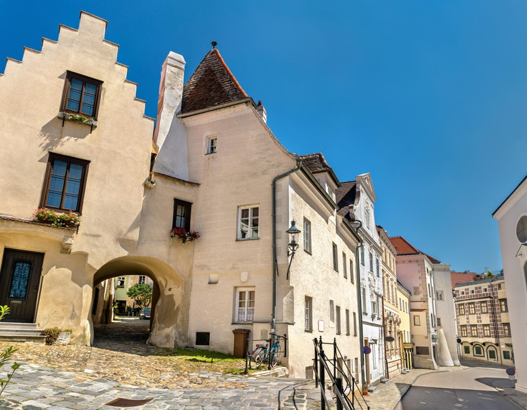Historic buildings in the old town of Krems an der Donau, Austria