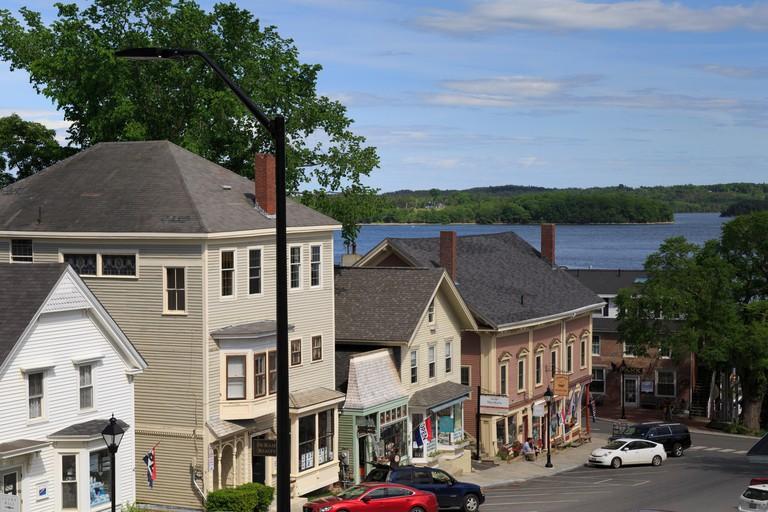 Main Street Penobscot Bay on Blue Hill Peninsula, Castine, Maine, USA