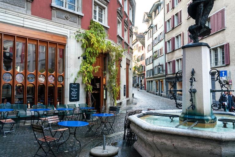 pedestrian street view in zurich altstadt old town switzerland