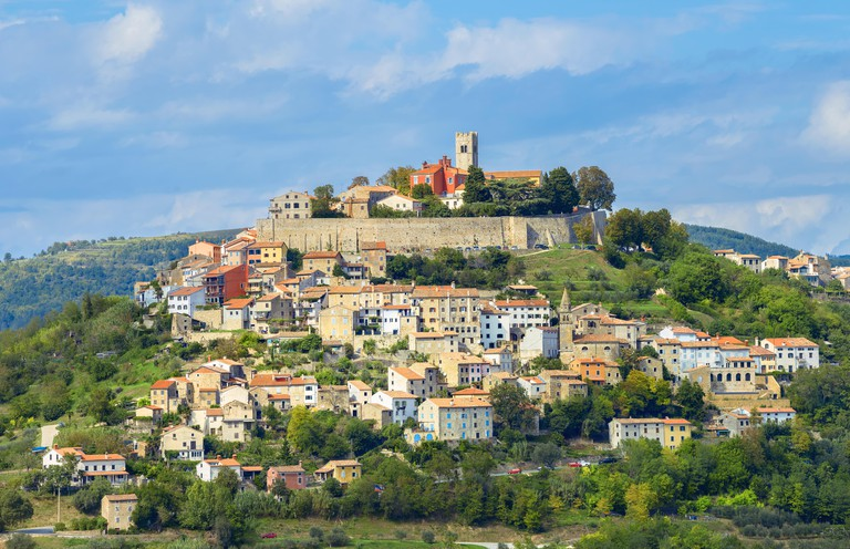 View of famous small old town Motovun on picturesque hill. Istria, Croatia