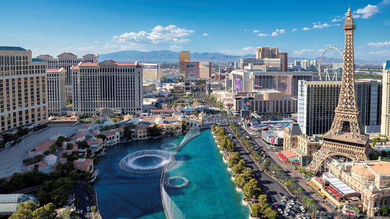Las Vegas Strip skyline at sunny day