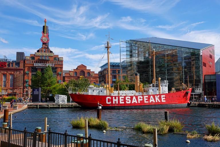 USA Baltimore Maryland MD Inner Harbor city waterfront day summer Chesapeake Lightship aquarium