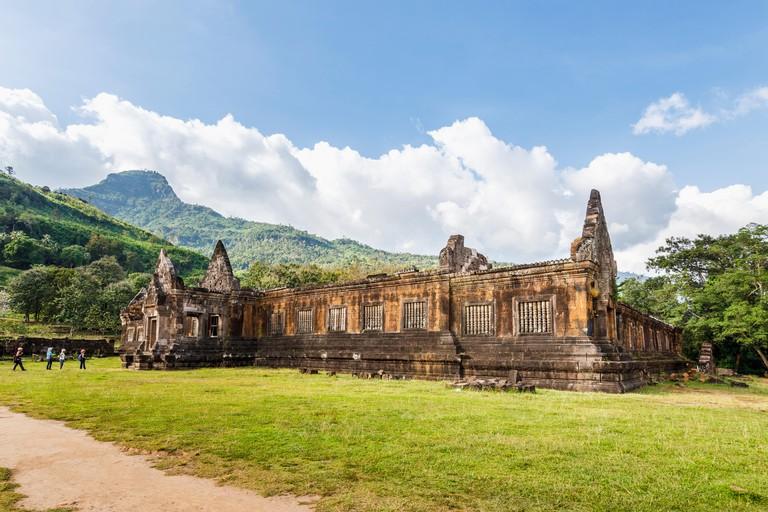Laotian landscape and archaeology: Worship pavilion ruins at the pre-Angkorian Khmer Hindu temple of Wat Phou, Champasak, Champasak Province, Laos