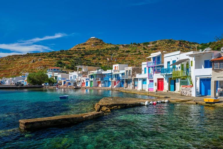2FN81TB Greek fishing village Klima on Milos island in Greece.
