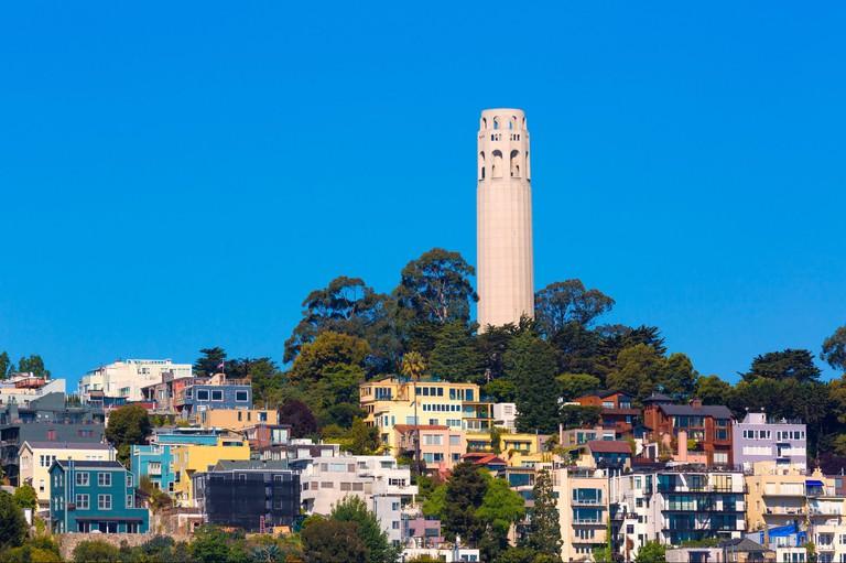 Coit Tower San Francisco California in a blue sky day USA.