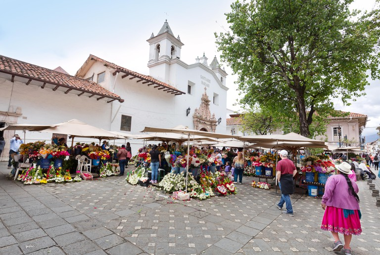Cuenca Ecuador South America - scene at  the Flower market