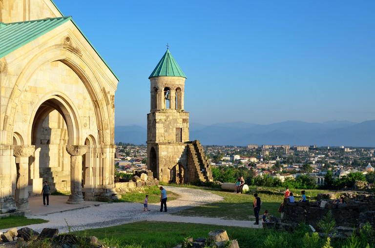 Bagrati Cathedral against the landscape of Kutaisi, Republic of Georgia