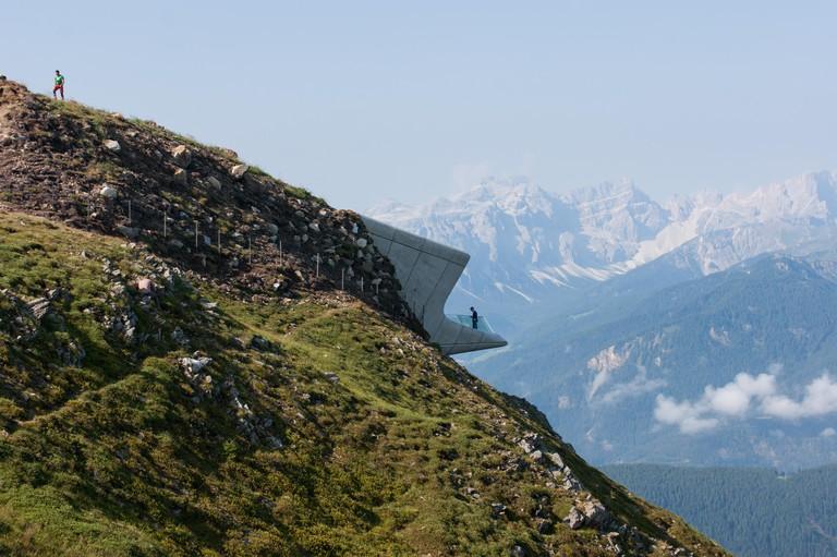 Zaha Hadid Architects, Messner Mountain Museum Corones, sitting on top of the Kronplatz alpine peak in the Dolomites, South Tyrol, Italy
