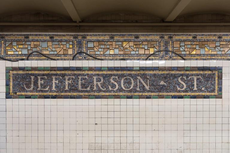 Brooklyn, New York - June 5, 2016: Jefferson Street subway station along the L train in the Bushwick area of Brooklyn, New York.
