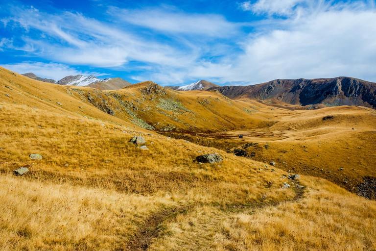 Path thru golden grass of autumn mountains, Lagodekhi national park, Georgia