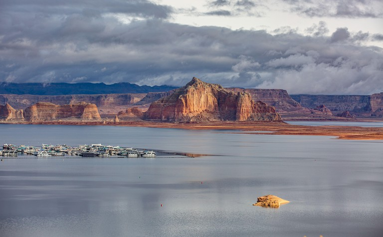 Lake Powell Arizona during the winter months when water is low in the canyon the buttes pop out of the landscape at Lake Powell marina