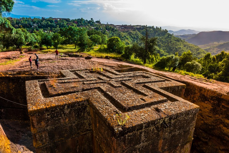 Beta Giyorgis (St. George's Church), Lalibela, Ethiopia. It is the best known and last built of the eleven rock-hewn monolithic churches in Lalibela. 2ARG5HT