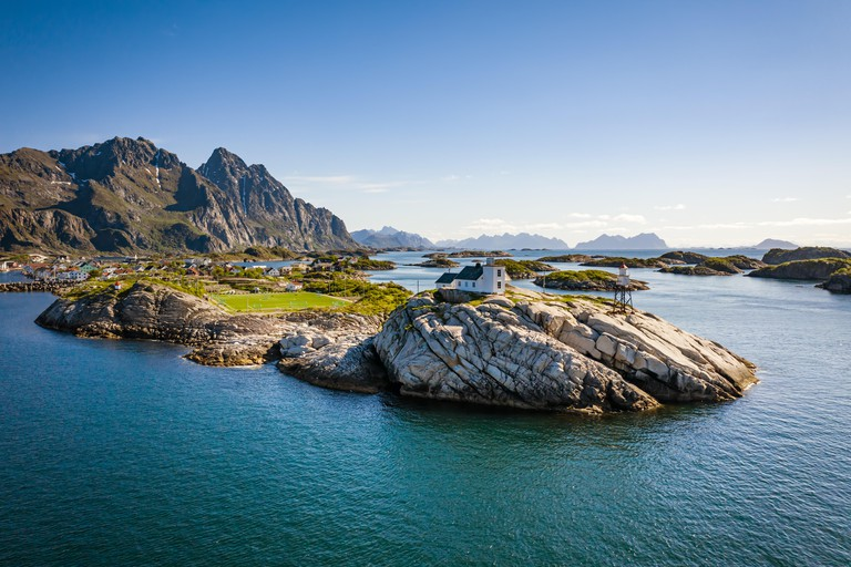 Panorama Lofoten is an archipelago in the county of Nordland, Norway. Is known for a distinctive scenery with dramatic mountains and peaks, open sea a