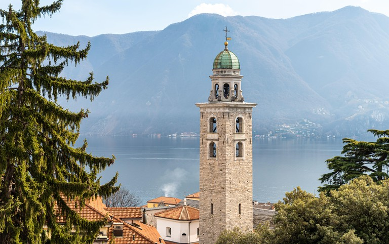 View of Bell tower of Saint Lawrence Cathedral in Lugano city, Ticino, Switzerland