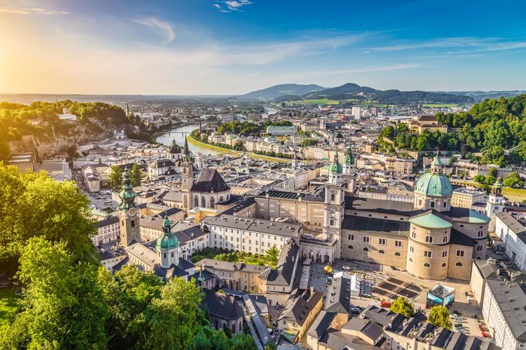 Aerial view of the historic city of Salzburg at sunset, Salzburger Land, Austria
