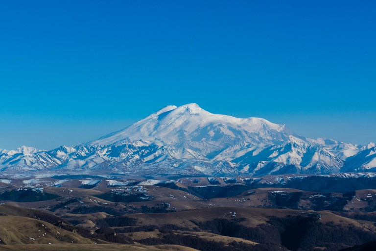 Mount Elbrus is the highest mountain in Europe, and the tenth most prominent peak in the world. A dormant volcano, Elbrus is in the Caucasus Mountains