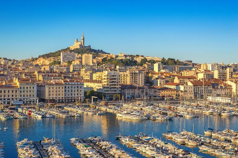 Marseille harbour port city skyline, Marseille, France