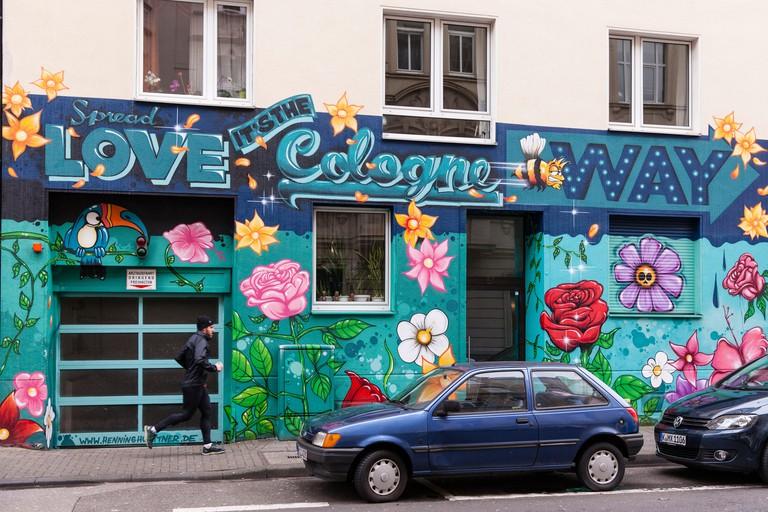 Europe, Germany, North Rhine-Westphalia, Cologne, mural on a building in the Belgian quarter.Europa, Deutschland, Nordrhein-Westfalen, Koeln, Graffi