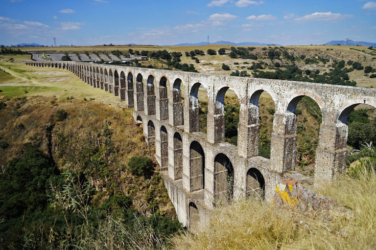 Arcos del Sitio (Arcos Site) historic aqueduct in Tepotzotlan, Mexico.