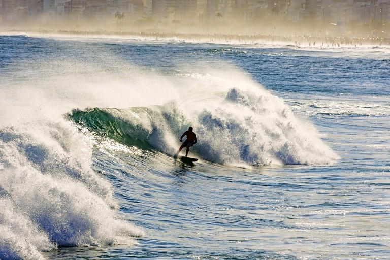 Surf in Arpoador beach in Ipanema Rio de Janeiro. Image shot 06/2017. Exact date unknown.