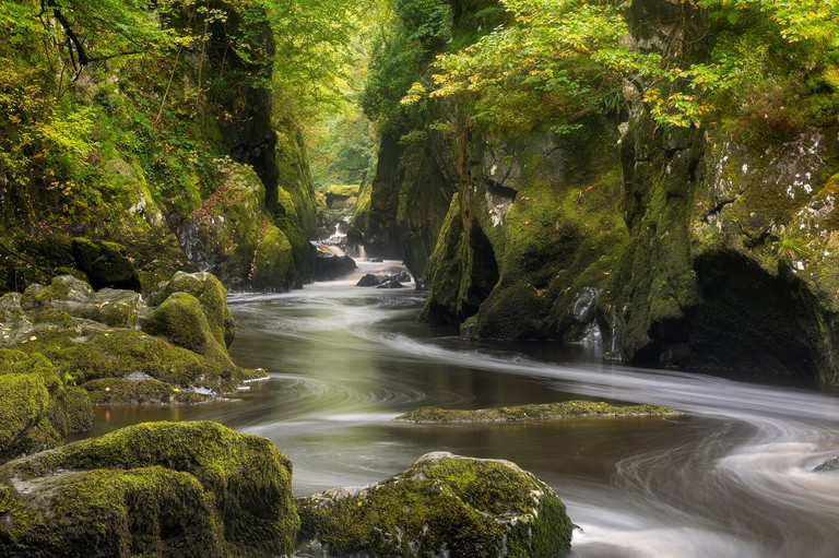 The mystical Fairy Glen near Betws y Coed in Snowdonia National Park, North Wales. Autumn (September) 2017.