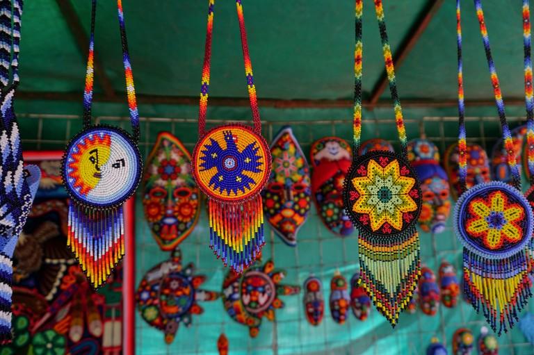 Huichol artwork in the San Angel neighborhood of Mexico City, Mexico