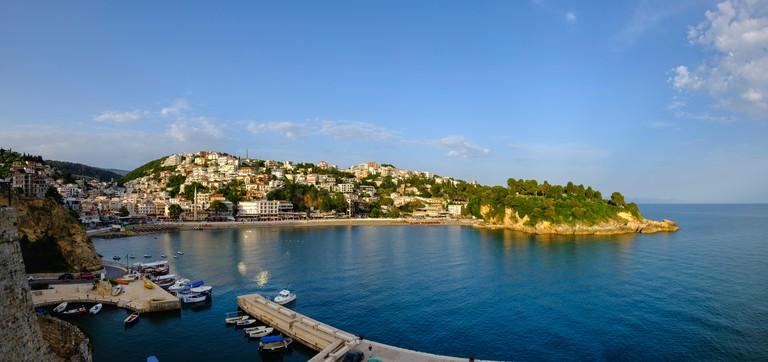 Mala Plaža Beach, Adriatic coast and harbor, Montenegro