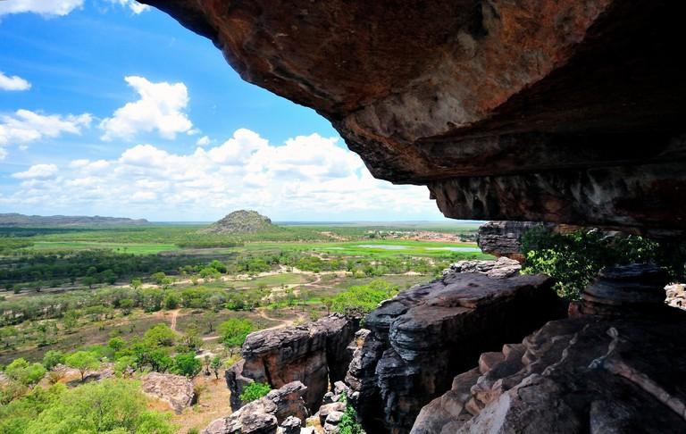 Overlooking the  Gunbalanya community from  the  towering escarpment Injalak Hill. Arnhem land.Northern Territory .Australia